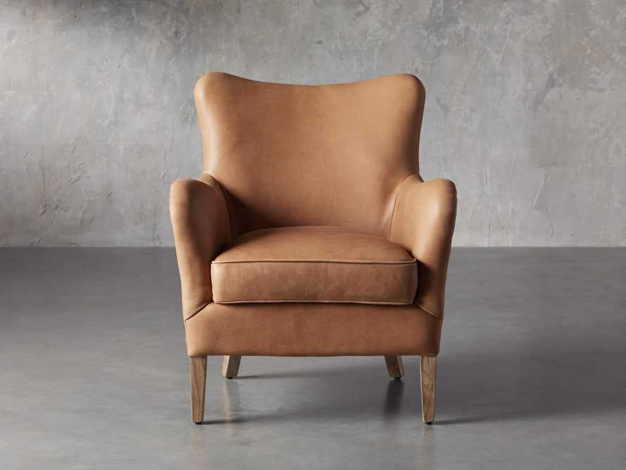 "Benton Leather 29"" Chair in Burnham Camel, slide 1 of 8"