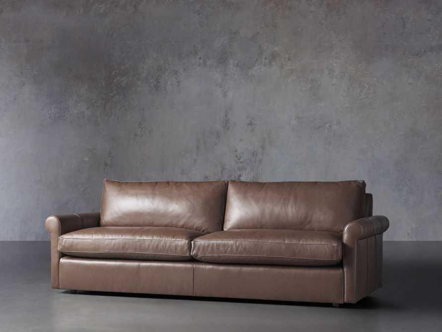 "Kipton Leather 97"" Rolled Arm Sofa, slide 3 of 8"