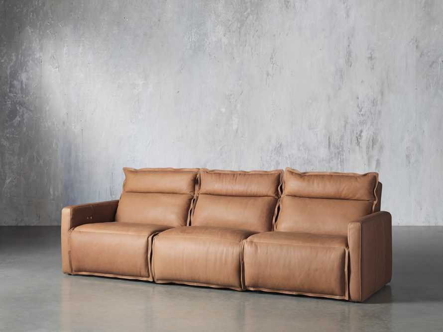 Rowland Leather Three Piece Sectional in Burnham Camel, slide 2 of 7