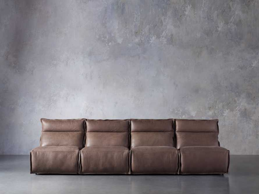 Rowland Leather Four Piece Sectional in Burnham Chocolate, slide 1 of 8