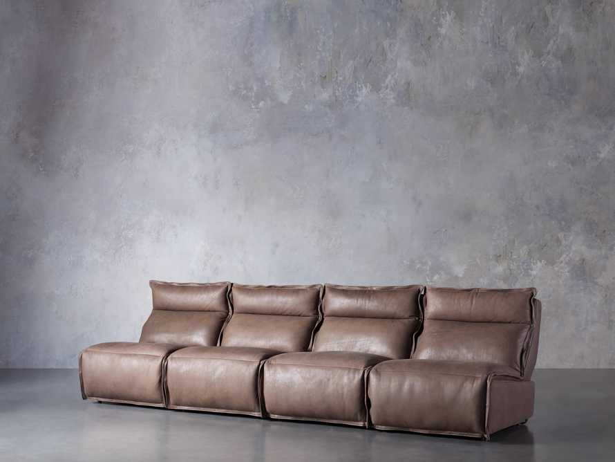 Rowland Leather Four Piece Sectional in Burnham Chocolate, slide 2 of 8