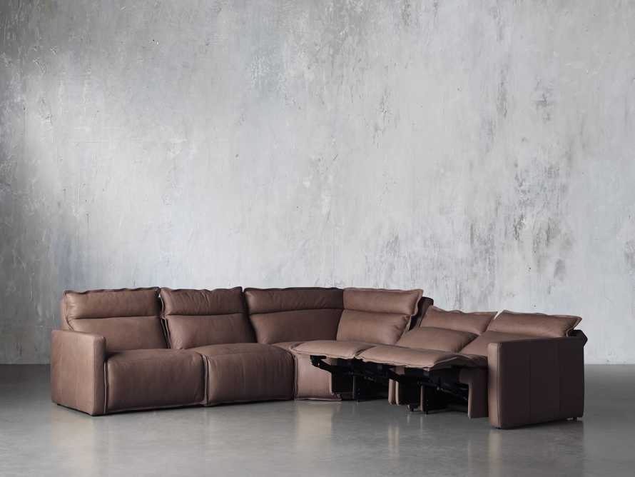 Rowland Leather Five Piece Sectional in Burnham Chocolate, slide 4 of 8