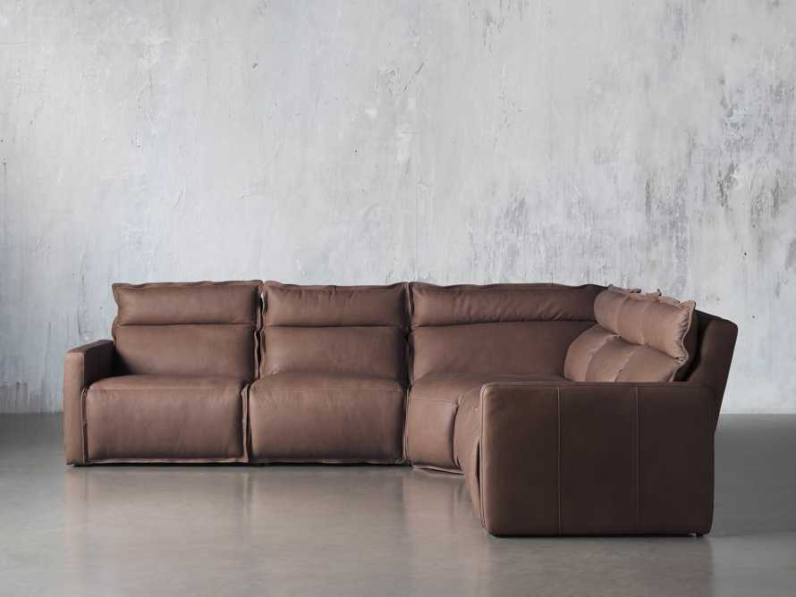 Rowland Leather Five Piece Sectional in Burnham Chocolate, slide 1 of 8