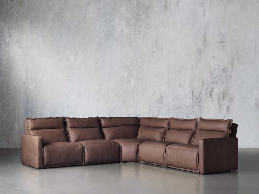 Rowland Leather Five Piece Sectional in Burnham Chocolate, slide 2 of 8