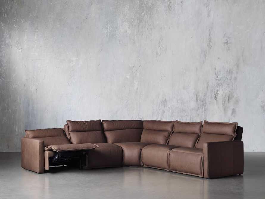 Rowland Leather Five Piece Sectional in Burnham Chocolate, slide 3 of 8