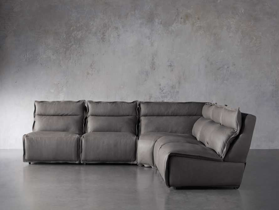 "Rowland Leather 122"" Five Piece Sectional in Burnham Graphite, slide 1 of 8"