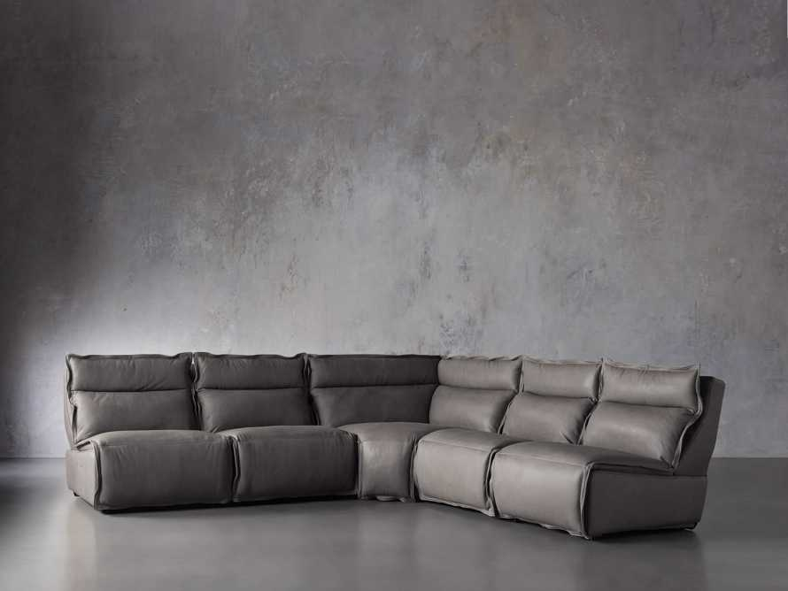 "Rowland Leather 122"" Five Piece Sectional in Burnham Graphite, slide 2 of 8"