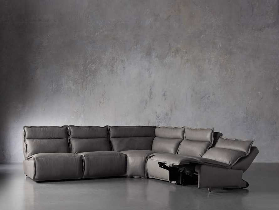 "Rowland Leather 122"" Five Piece Sectional in Burnham Graphite, slide 4 of 8"