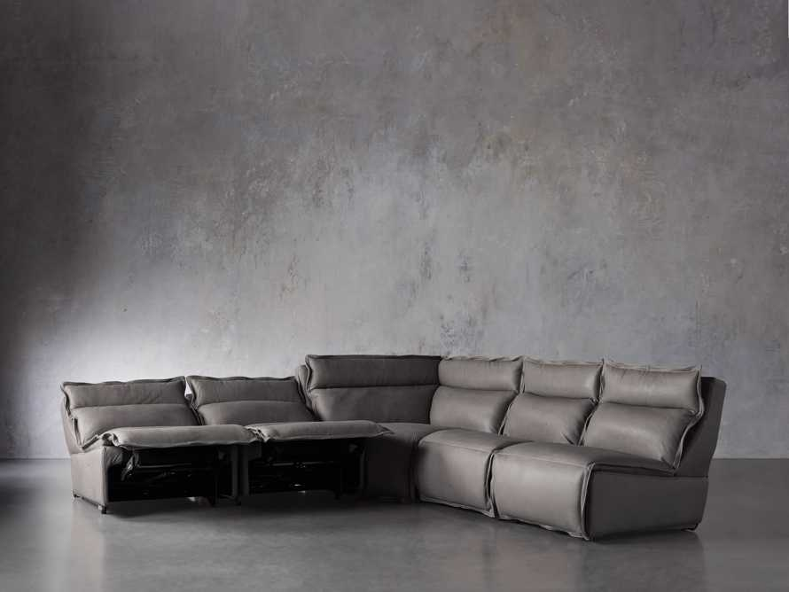 "Rowland Leather 122"" Five Piece Sectional in Burnham Graphite, slide 3 of 8"