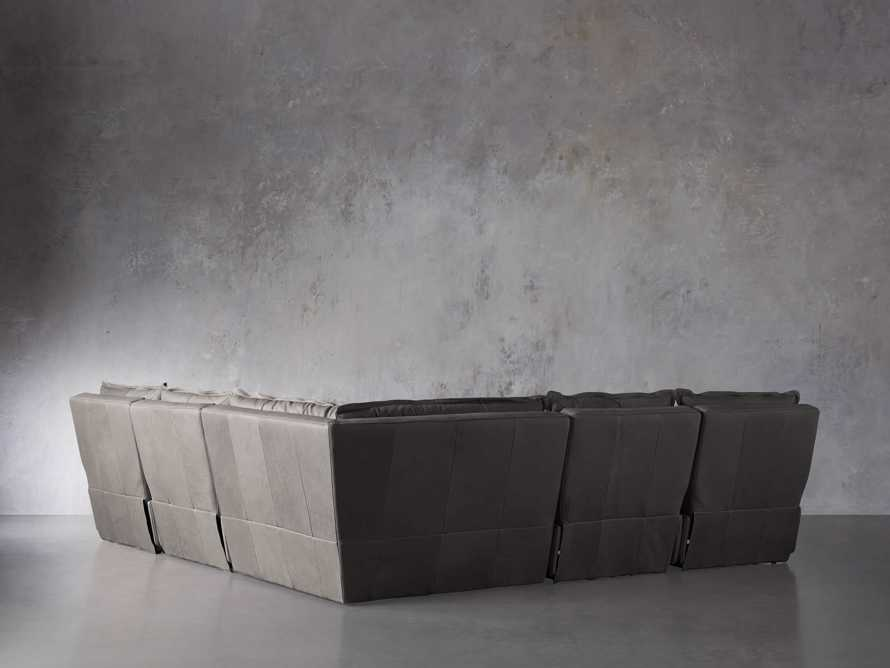 """Rowland Leather 122"""" Five Piece Sectional in Burnham Graphite, slide 5 of 8"""