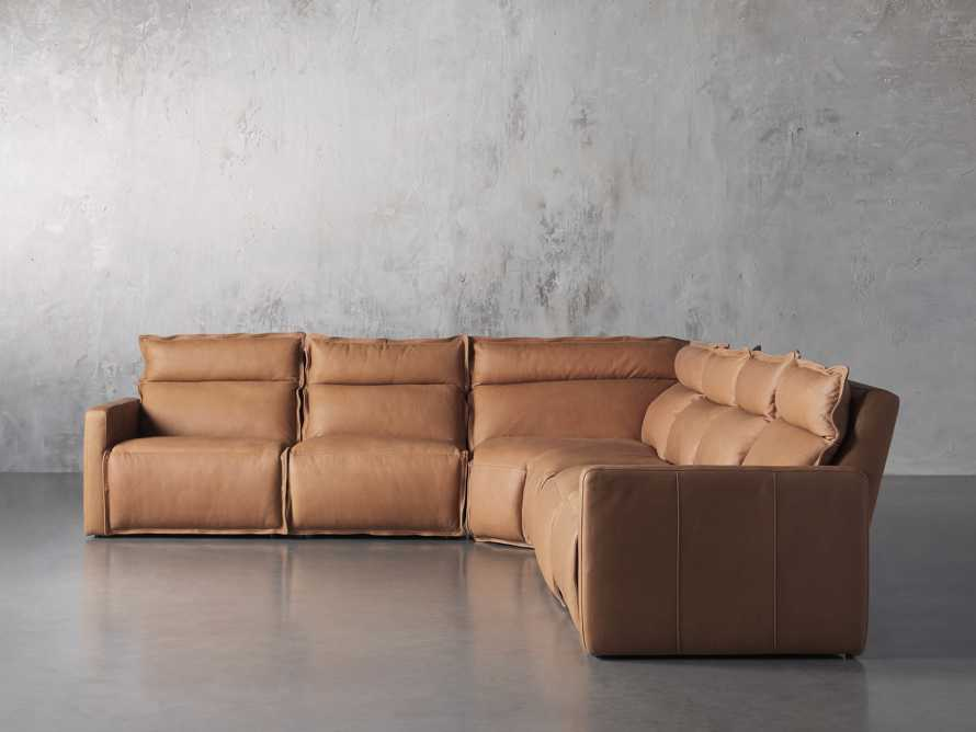 Rowland Leather Six Piece Sectional in Burnham Camel, slide 1 of 8