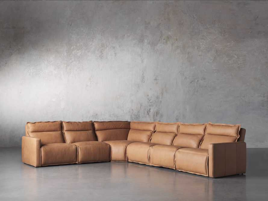 Rowland Leather Six Piece Sectional in Burnham Camel, slide 2 of 8