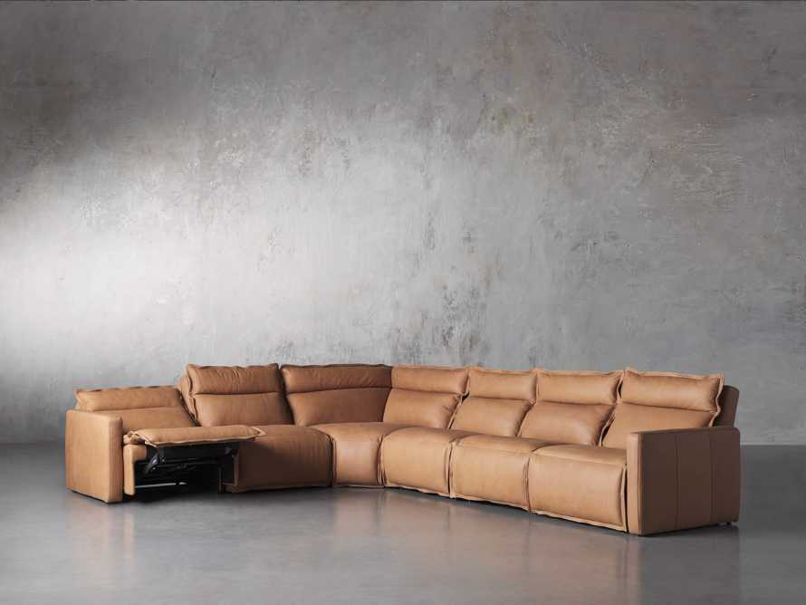 Rowland Leather Six Piece Sectional in Burnham Camel, slide 3 of 8