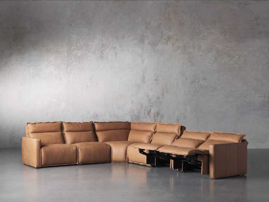 Rowland Leather Six Piece Sectional in Burnham Camel, slide 4 of 8