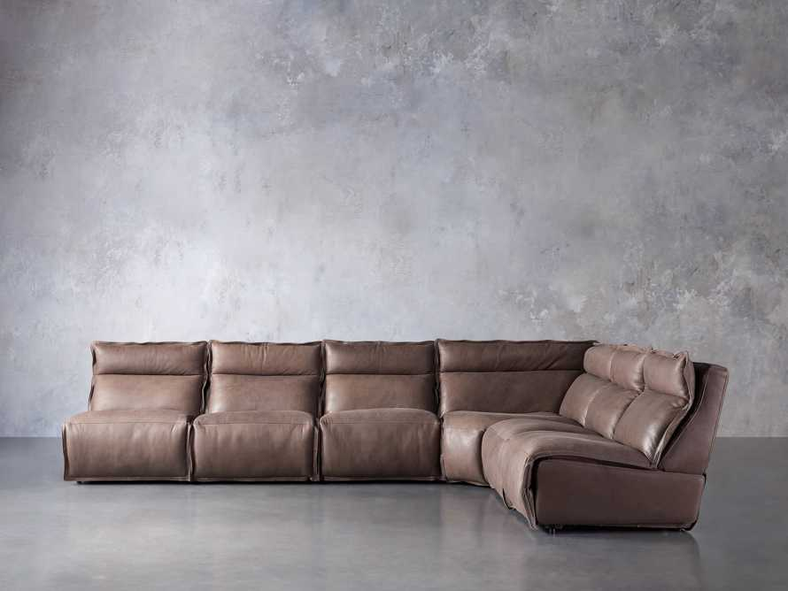 Rowland Leather Six Piece Sectional in Burnham Chocolate, slide 2 of 9