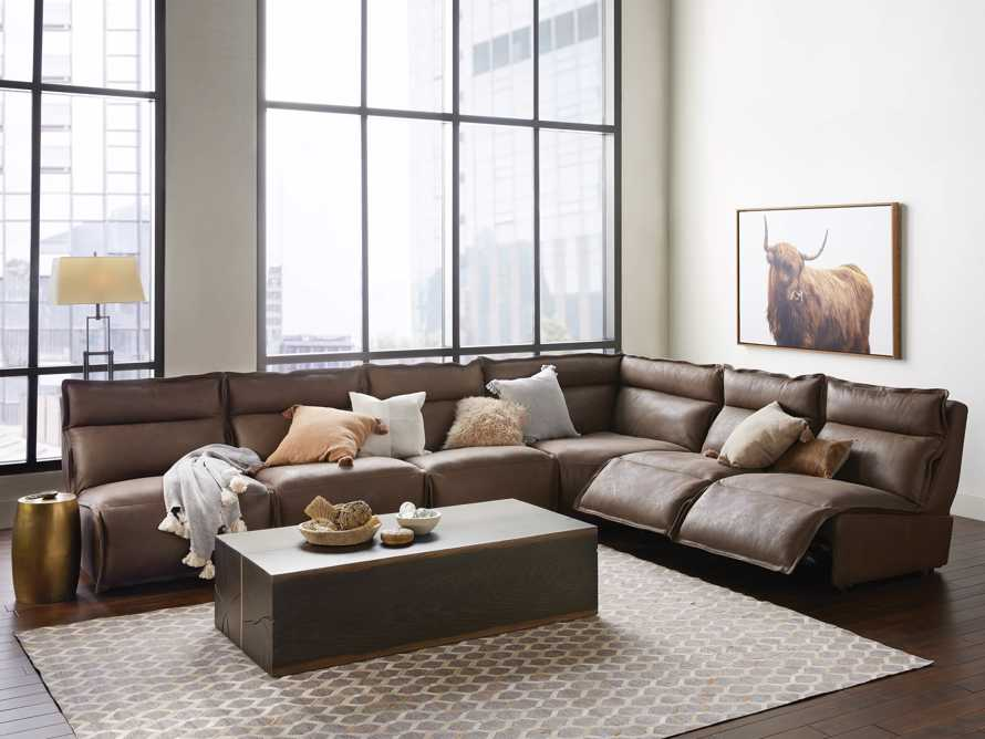Rowland Leather Six Piece Sectional in Burnham Chocolate, slide 1 of 9