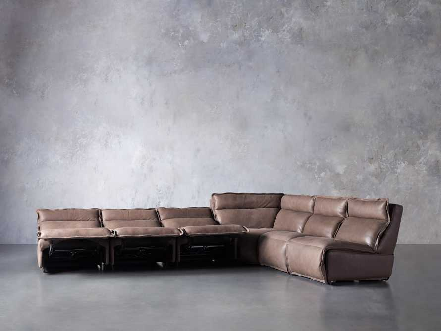 Rowland Leather Six Piece Sectional in Burnham Chocolate, slide 5 of 9
