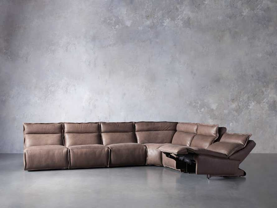 Rowland Leather Six Piece Sectional in Burnham Chocolate, slide 4 of 9