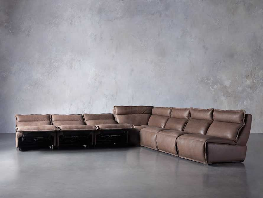 Rowland Leather Seven Piece Sectional in Burnham Chocolate, slide 3 of 9