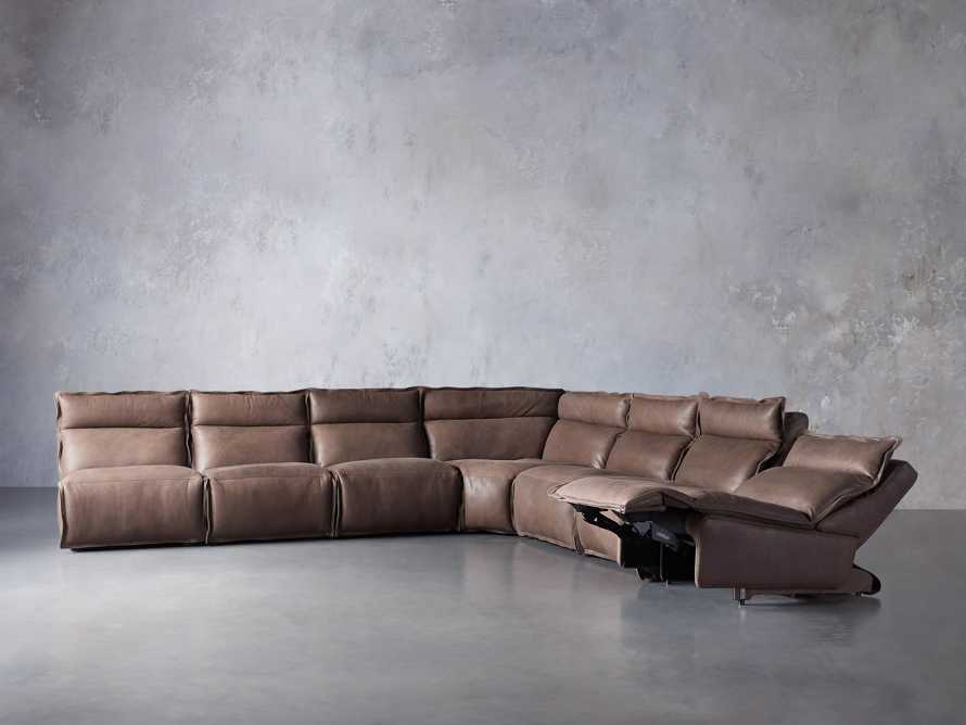 Rowland Leather Seven Piece Sectional in Burnham Chocolate, slide 4 of 9