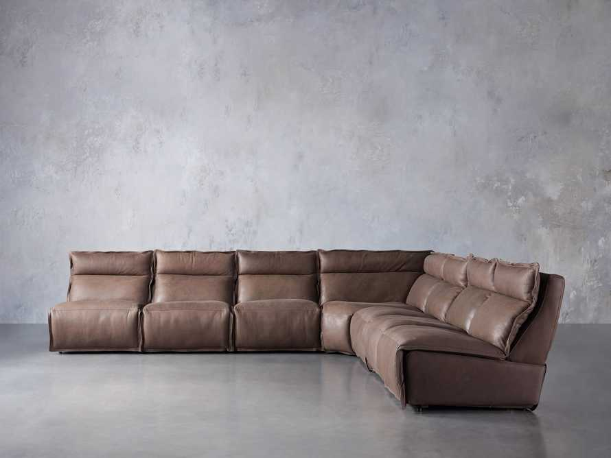 Rowland Leather Seven Piece Sectional in Burnham Chocolate, slide 1 of 9