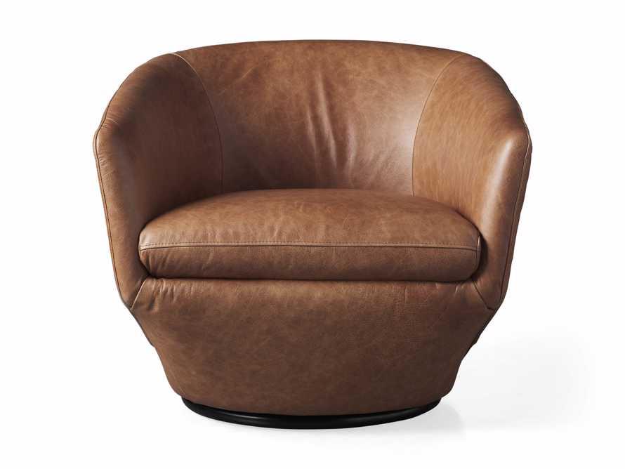 Pelton Leather Swivel Chair in Metro Brown, slide 6 of 7