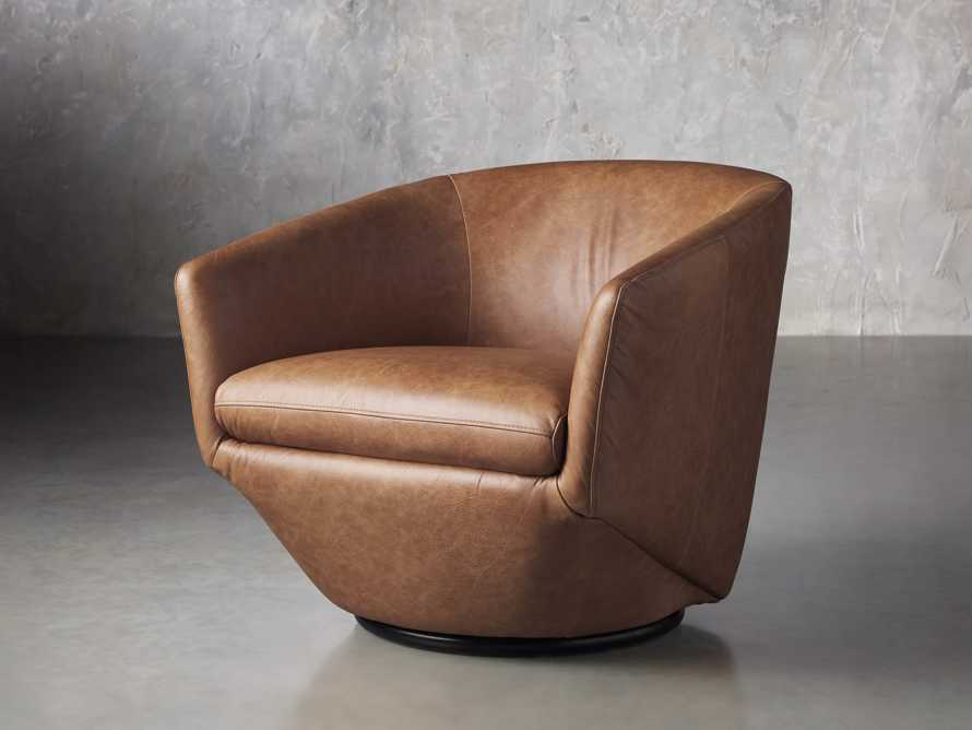 Pelton Leather Swivel Chair in Metro Brown, slide 2 of 7