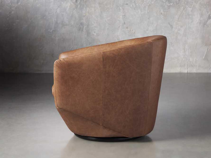 Pelton Leather Swivel Chair in Metro Brown, slide 3 of 7