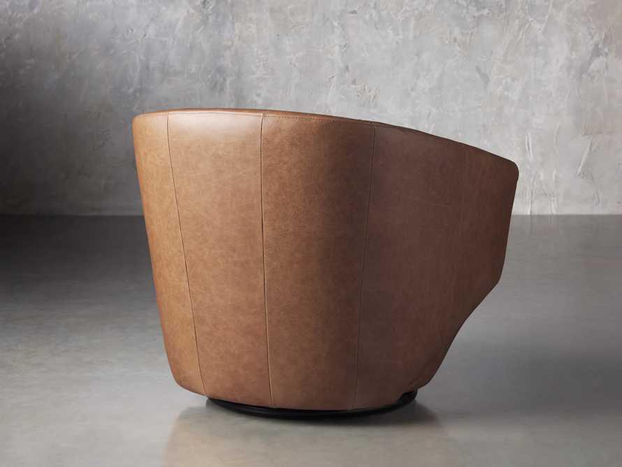 Pelton Leather Swivel Chair in Metro Brown, slide 4 of 7