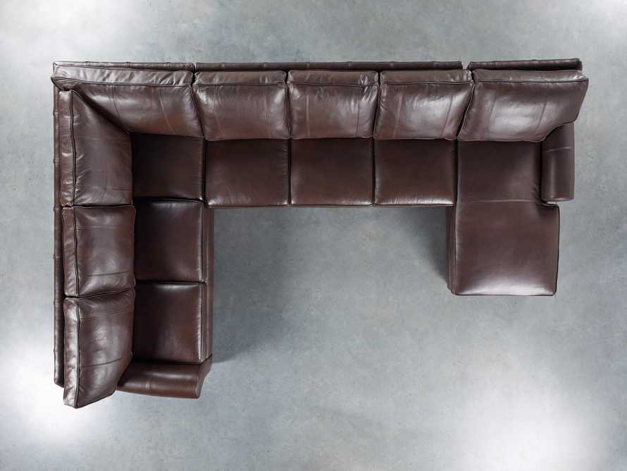 Brentwood Leather Reverse Three Piece Sectional With 3 Seat Sofa in Analina Cocoa, slide 3 of 5