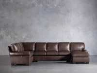 Brentwood Leather Reverse Three Piece Sectional With 3 Seat Sofa in Analina Cocoa