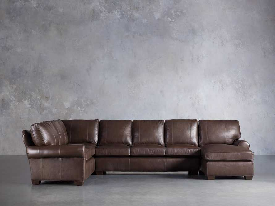 Brentwood Leather Reverse Three Piece Sectional With 3 Seat Sofa in Analina Cocoa, slide 1 of 5