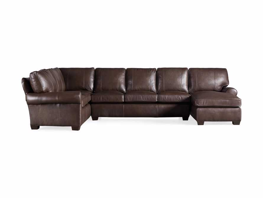 Brentwood Leather Reverse Three Piece Sectional With 3 Seat Sofa in Analina Cocoa, slide 5 of 5