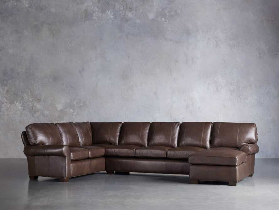 Brentwood Leather Reverse Three Piece Sectional With 3 Seat Sofa in Analina Cocoa, slide 2 of 5