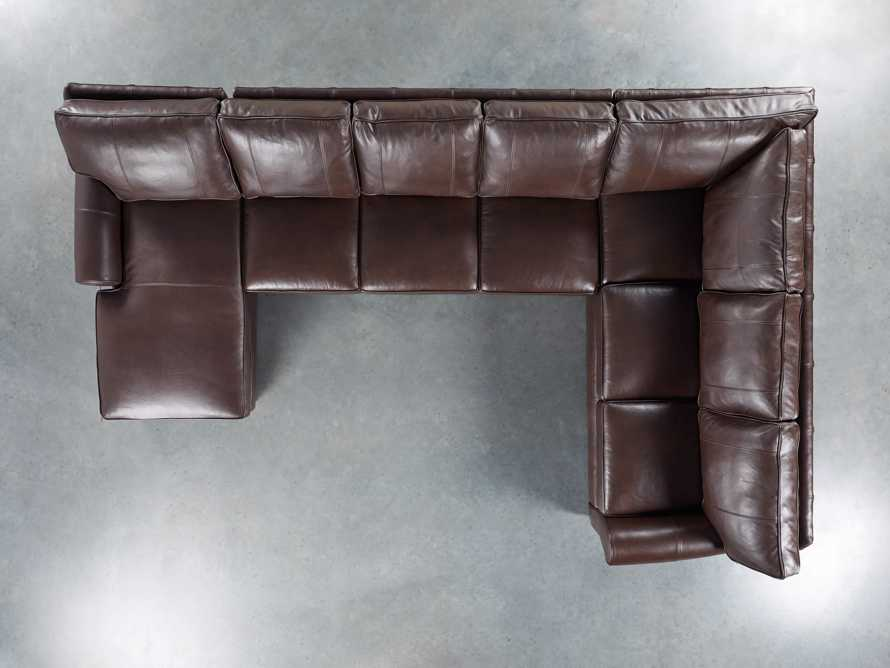 Brentwood Leather Three Piece Sectional With 3 Seat Sofa in Analina Cocoa, slide 4 of 6