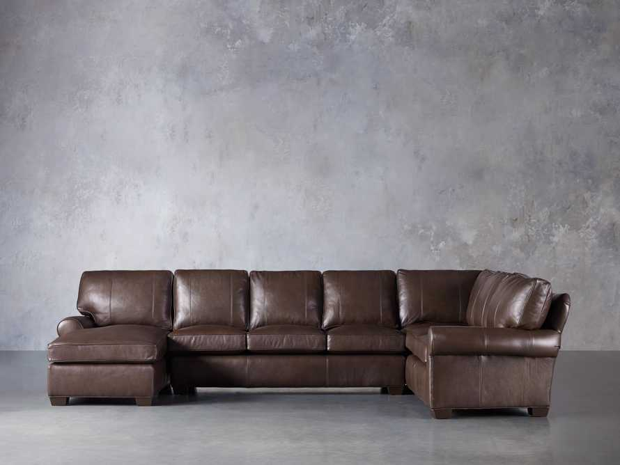 Brentwood Leather Three Piece Sectional With 3 Seat Sofa in Analina Cocoa, slide 2 of 6