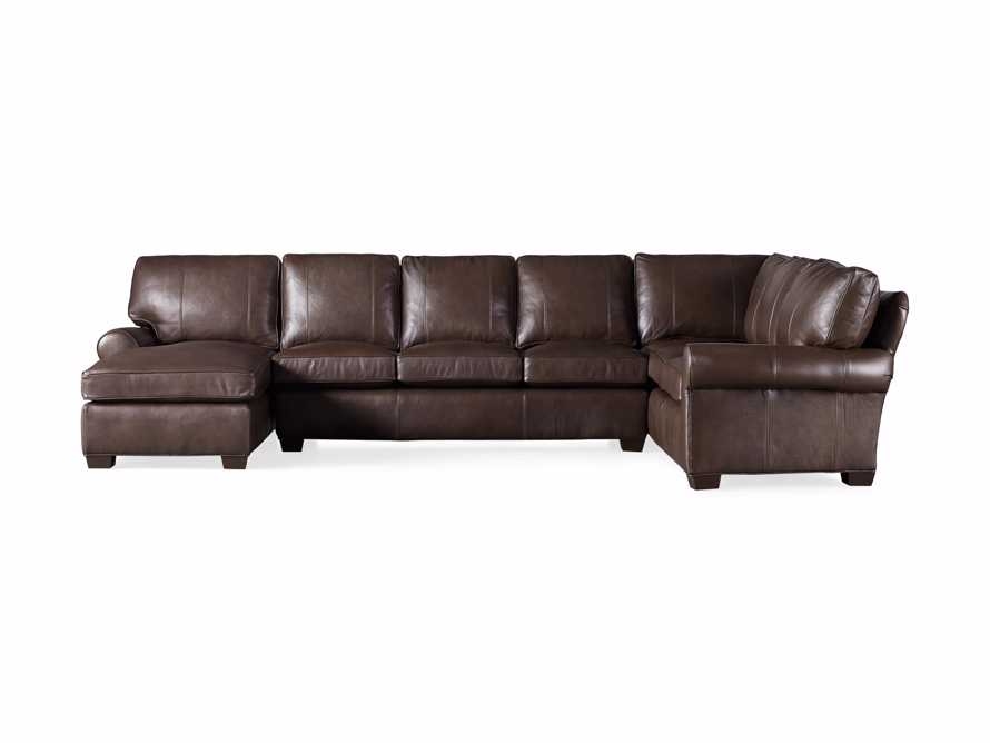 Brentwood Leather Three Piece Sectional With 3 Seat Sofa in Analina Cocoa, slide 6 of 6