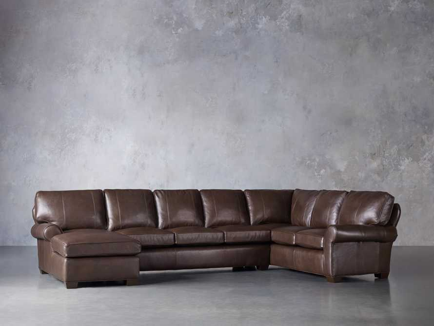 Brentwood Leather Three Piece Sectional With 3 Seat Sofa in Analina Cocoa, slide 3 of 6