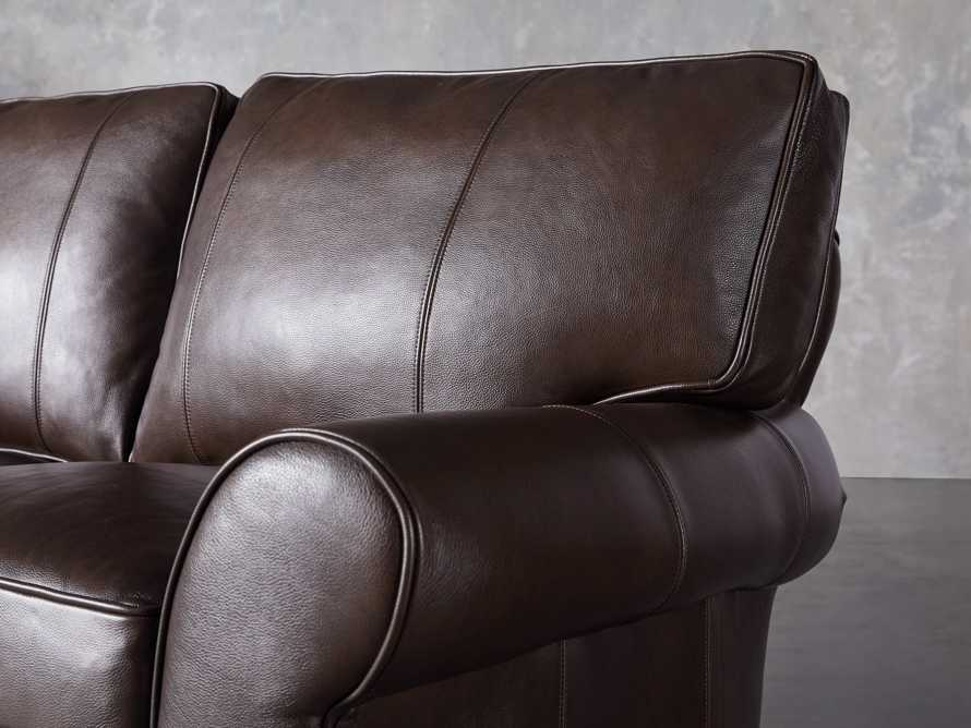 Brentwood Leather Three Piece Sectional With 3 Seat Sofa in Analina Cocoa, slide 5 of 6