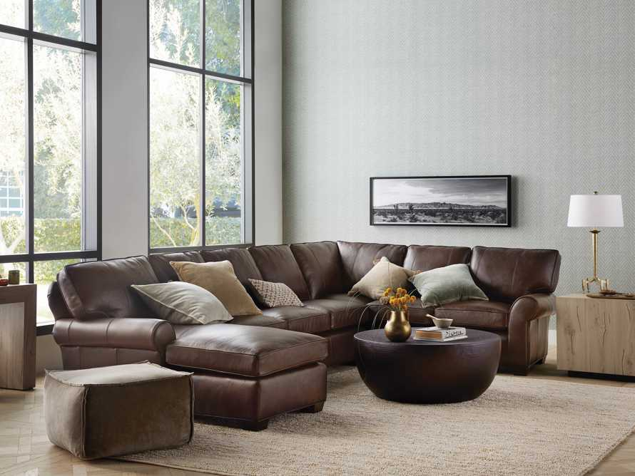 Brentwood Leather Three Piece Sectional With 3 Seat Sofa in Analina Cocoa, slide 1 of 6