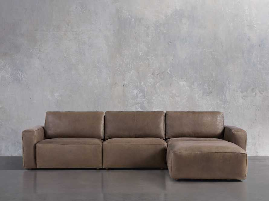 Innsbruck Leather Four Piece Sofa Sectional with Ottoman in Burnham Chocolate, slide 1 of 4