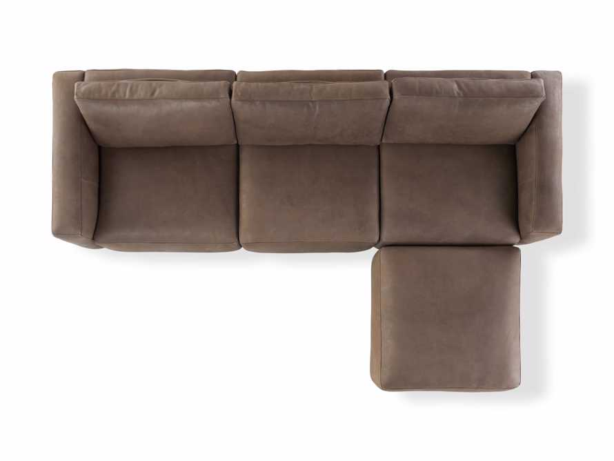 Innsbruck Leather Four Piece Sofa Sectional with Ottoman in Burnham Chocolate, slide 4 of 4