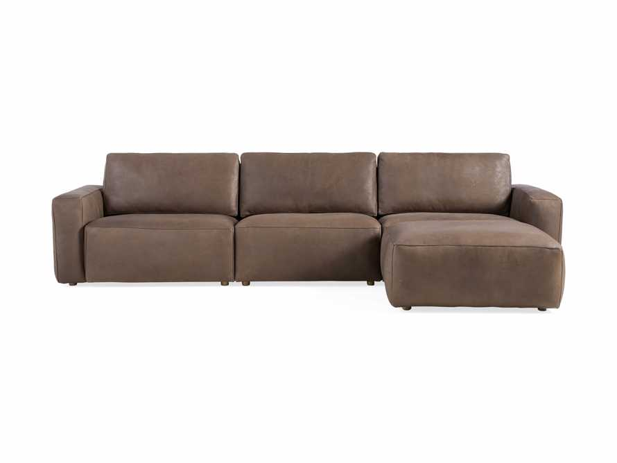 Innsbruck Leather Four Piece Sofa Sectional with Ottoman in Burnham Chocolate, slide 2 of 4