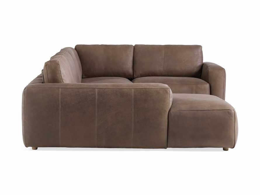 Innsbruck Leather Five Piece Left Chaise Sectional in Burnham Chocolate, slide 3 of 4