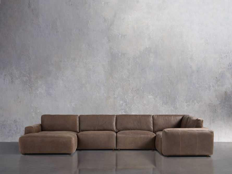 Innsbruck Leather Five Piece Left Chaise Sectional in Burnham Chocolate, slide 1 of 4