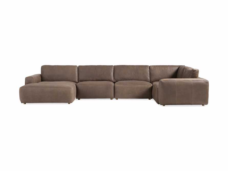 Innsbruck Leather Five Piece Left Chaise Sectional in Burnham Chocolate, slide 2 of 4