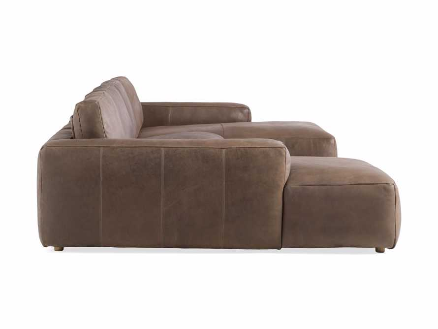 Innsbruck Leather Four Piece Double Chaise Sectional in Burnham Chocolate, slide 3 of 4