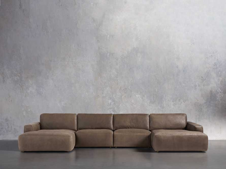 Innsbruck Leather Four Piece Double Chaise Sectional in Burnham Chocolate, slide 1 of 4