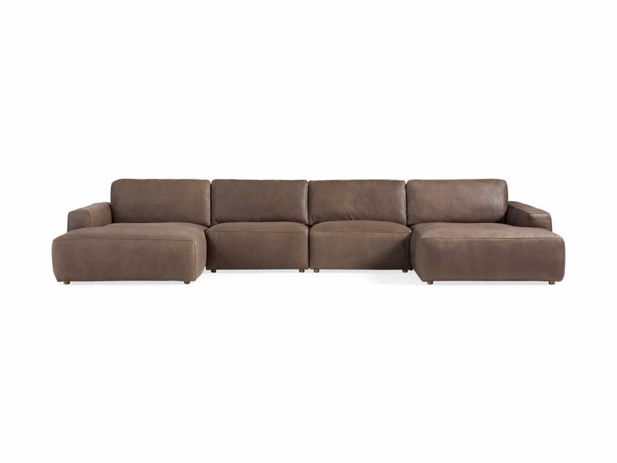 Innsbruck Leather Four Piece Double Chaise Sectional in Burnham Chocolate, slide 2 of 4