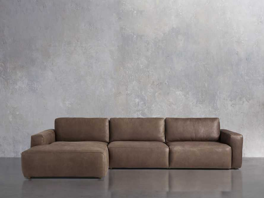 Innsbruck Leather Two Piece Left Arm Chaise Sectional in Burnham Chocolate, slide 2 of 5